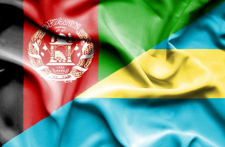 bahamas: Waving flag of Bahamas and Afghanistan