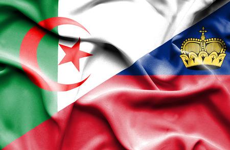 lichtenstein: Waving flag of Lichtenstein and Algeria