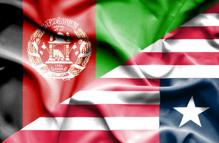 liberia: Waving flag of Liberia and Afghanistan Stock Photo