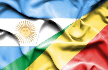 Congo: Waving flag of Congo Republic and