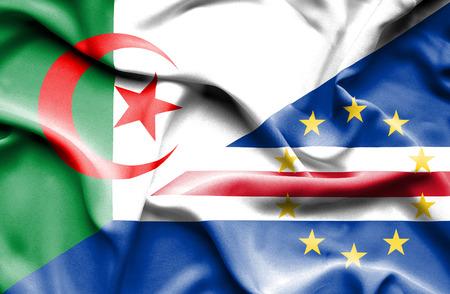 cape: Waving flag of Cape Verde and Algeria Stock Photo