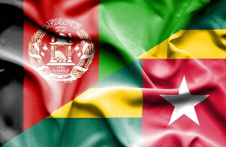 togo: Waving flag of Togo and Afghanistan