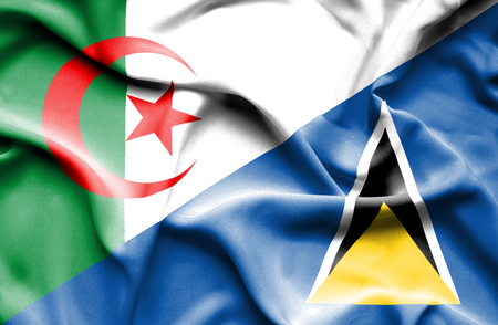 st lucia: Waving flag of St Lucia and Algeria
