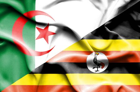 algeria: Waving flag of Uganda and Algeria