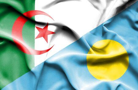 algerian flag: Waving flag of Palau and Algeria
