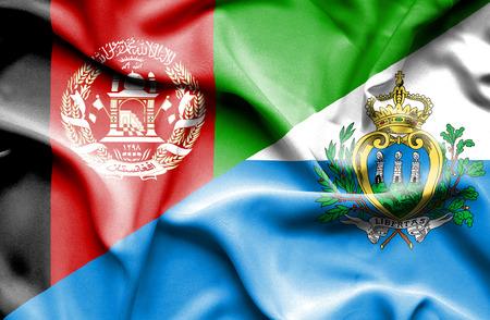 san marino: Waving flag of San Marino and Afghanistan Stock Photo