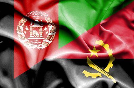 angola: Waving flag of Angola and Afghanistan