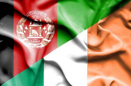 ireland flag: Waving flag of Ireland and Afghanistan
