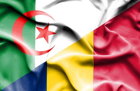 algerian flag: Waving flag of Chad and Algeria