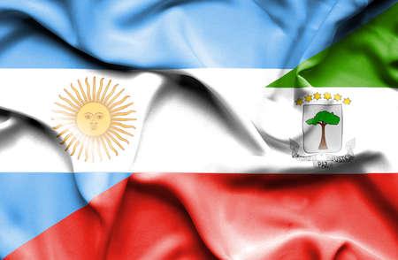 equatorial: Waving flag of Equatorial Giuinea and Stock Photo