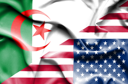 Waving flag of United States of America and Algeria