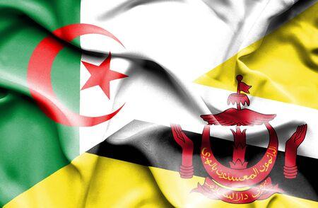 algerian flag: Waving flag of Brunei and Algeria