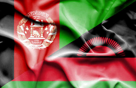 malawian flag: Waving flag of Malawi and Afghanistan Stock Photo