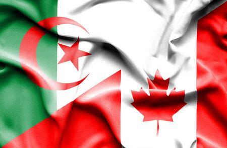 algeria: Waving flag of Canada and Algeria