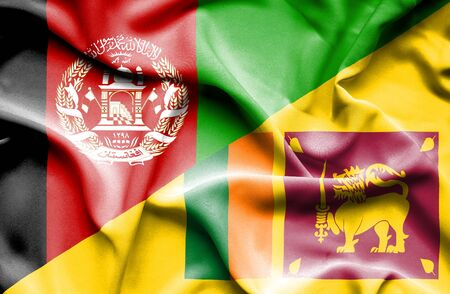 sri lankan flag: Waving flag of Sri Lanka and Afghanistan Stock Photo