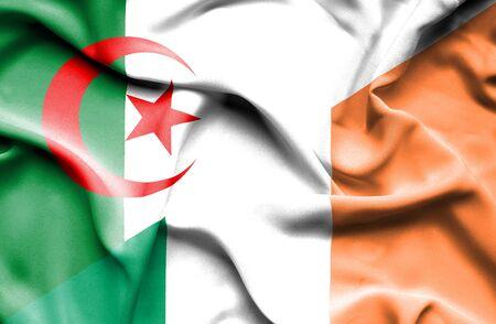 ireland flag: Waving flag of Ireland and Algeria