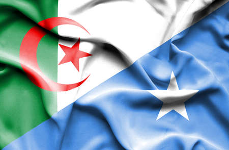 algeria: Waving flag of Somalia and Algeria