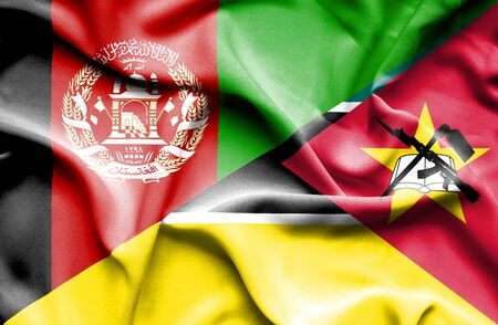 mozambique: Waving flag of Mozambique and Afghanistan Stock Photo