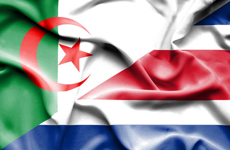 algerian flag: Waving flag of Costa Rica and Algeria