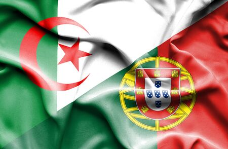 algeria: Waving flag of Portugal and Algeria Stock Photo