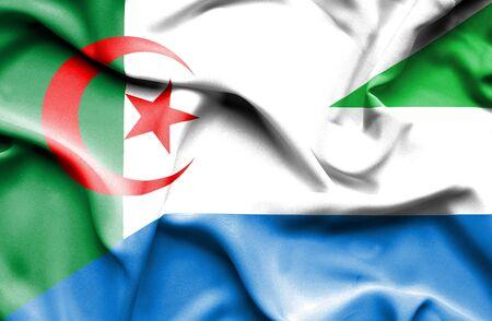 sierra: Waving flag of Sierra Leone and Algeria