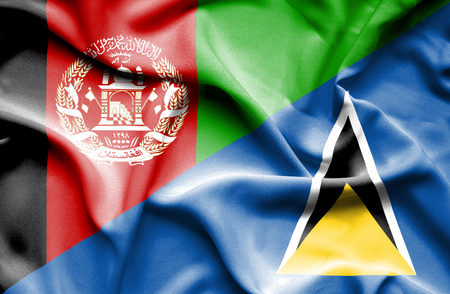 st lucia: Waving flag of St Lucia and Afghanistan Stock Photo