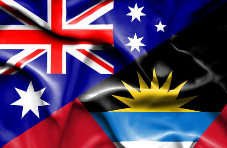 antigua: Waving flag of Antigua and Barbuda and