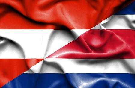 costa rica: Waving flag of Costa Rica and  Austria