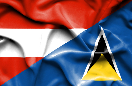st lucia: Waving flag of St Lucia and Austria Stock Photo