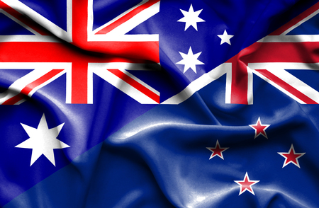 Waving flag of New Zealand and
