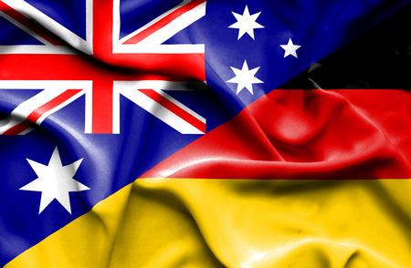 bandera alemania: Ondeando la bandera de Alemania y