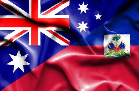 haiti: Waving flag of Haiti and Stock Photo