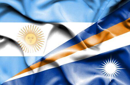 marshall: Waving flag of Marshall Islands and