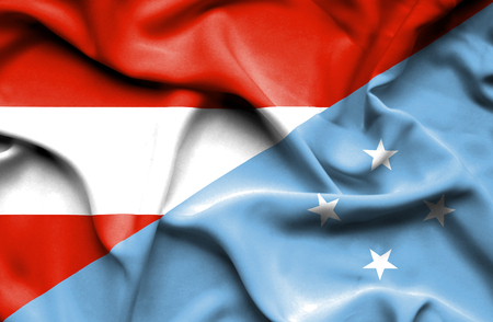 micronesia: Waving flag of Micronesia and Austria Stock Photo