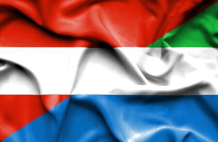 sierra: Waving flag of Sierra Leone and Austria