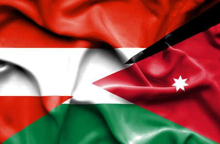 jordan: Waving flag of Jordan and Austria
