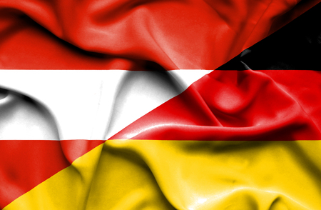 austria: Waving flag of Germany and Austria Stock Photo