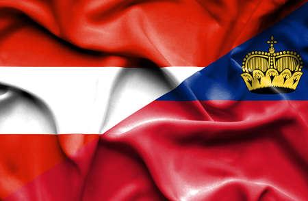 lichtenstein: Waving flag of Lichtenstein and Austria
