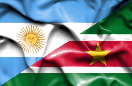 suriname: Waving flag of Suriname and