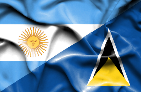 st lucia: Waving flag of St Lucia and Stock Photo