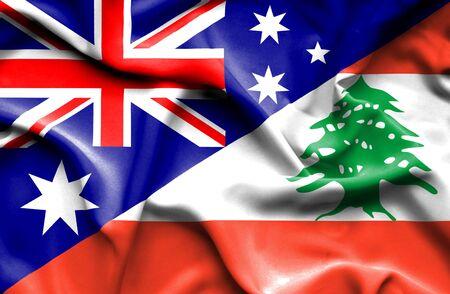 lebanon: Waving flag of Lebanon and