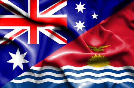 kiribati: Waving flag of Kiribati and