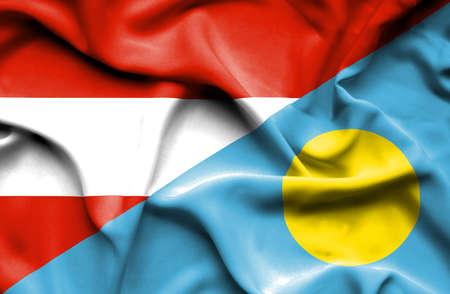 palau: Waving flag of Palau and Austria Stock Photo