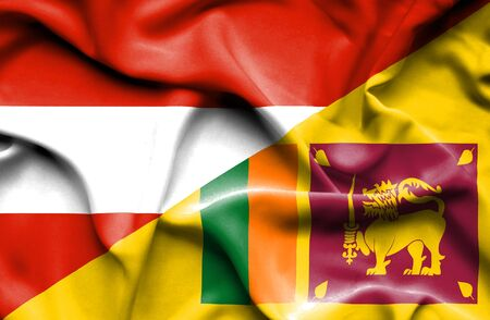 sri lankan flag: Waving flag of Sri Lanka and Austria