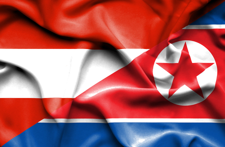 north korea: Waving flag of North Korea and Austria