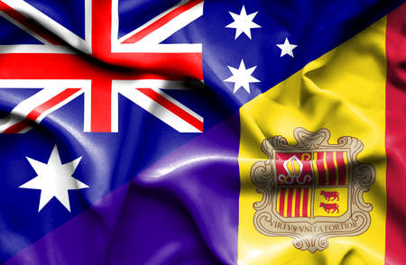 andorra: Waving flag of Andorra and