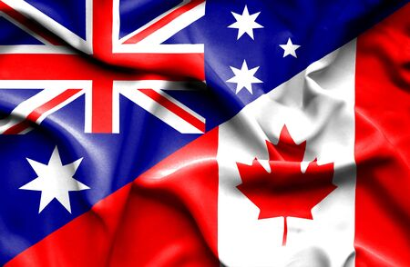 money market: Waving flag of Canada and Stock Photo