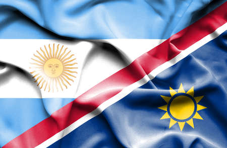 namibia: Waving flag of Namibia and