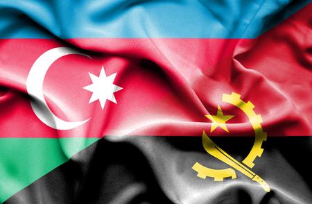 angola: Waving flag of Angola and Azerbaijan