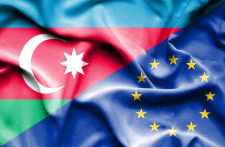 european union: Waving flag of European Union and  Azerbaijan Stock Photo